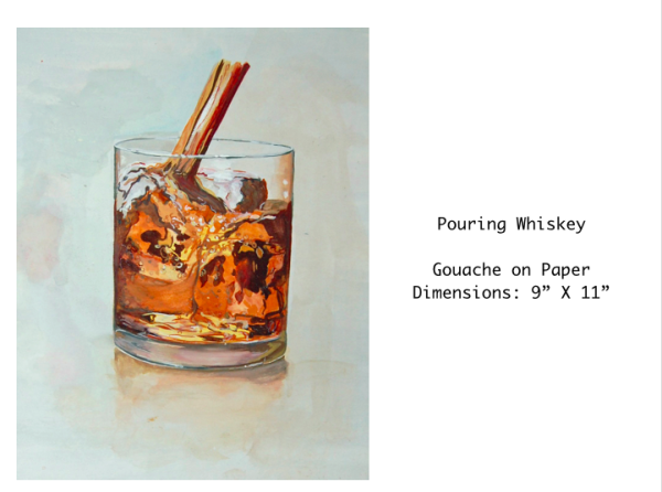 Pouring Whiskey  Gouache